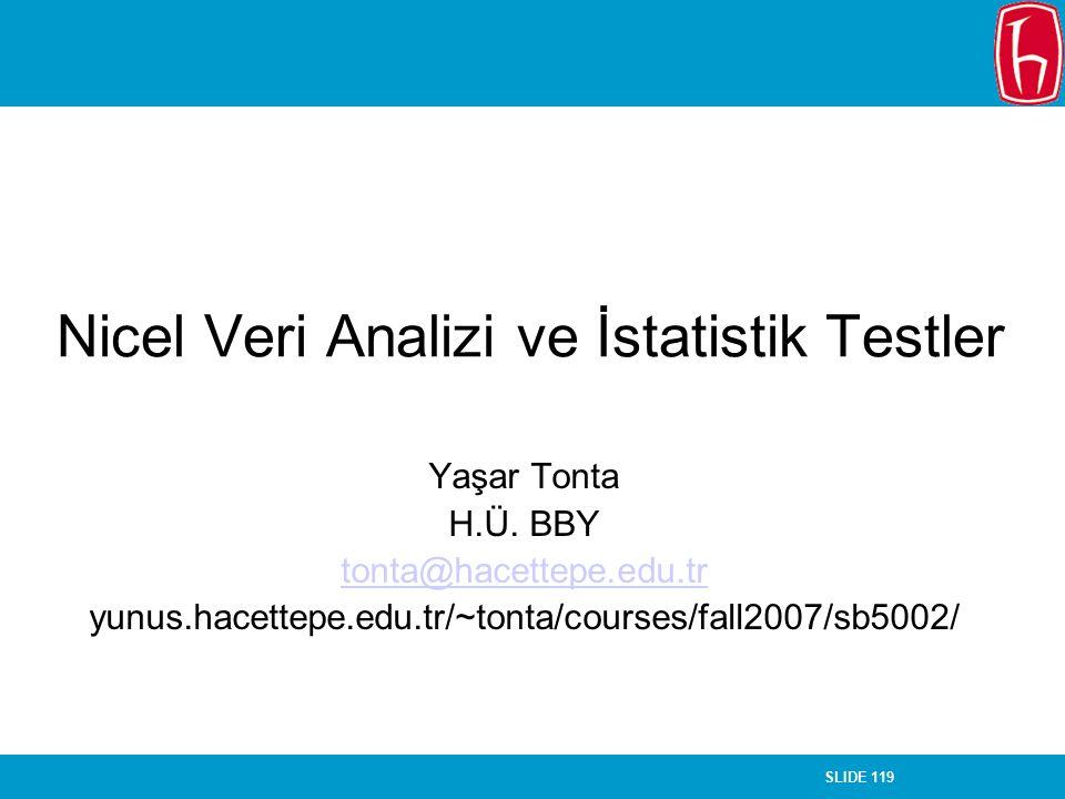 SLIDE 119 Nicel Veri Analizi ve İstatistik Testler Yaşar Tonta H.Ü. BBY tonta@hacettepe.edu.tr yunus.hacettepe.edu.tr/~tonta/courses/fall2007/sb5002/