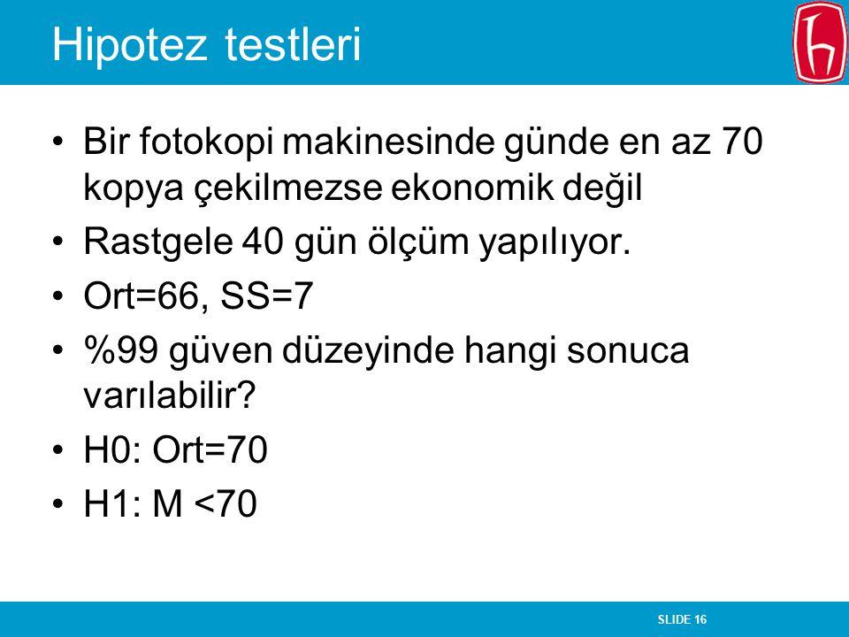 SLIDE 16 Hipotez testleri Bir fotokopi makinesinde günde en az 70 kopya çekilmezse ekonomik değil Rastgele 40 gün ölçüm yapılıyor. Ort=66, SS=7 %99 gü