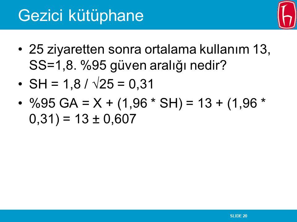 SLIDE 20 Gezici kütüphane 25 ziyaretten sonra ortalama kullanım 13, SS=1,8. %95 güven aralığı nedir? SH = 1,8 /  25 = 0,31 %95 GA = X + (1,96 * SH) =