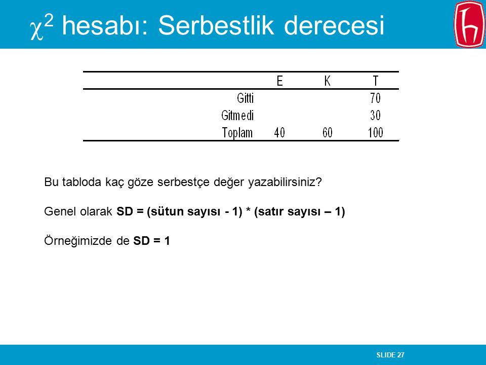 SLIDE 27  2 hesabı: Serbestlik derecesi Bu tabloda kaç göze serbestçe değer yazabilirsiniz? Genel olarak SD = (sütun sayısı - 1) * (satır sayısı – 1)