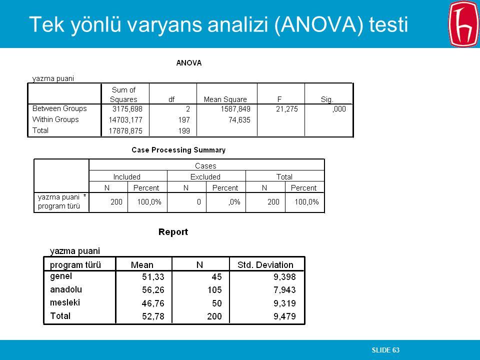 SLIDE 63 Tek yönlü varyans analizi (ANOVA) testi