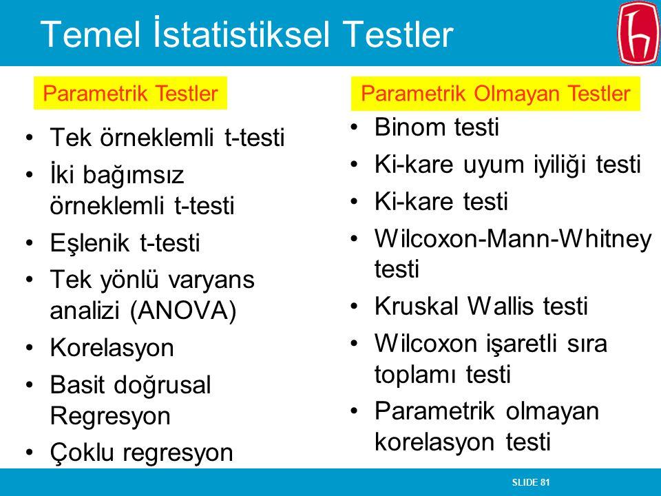 SLIDE 81 Temel İstatistiksel Testler Tek örneklemli t-testi İki bağımsız örneklemli t-testi Eşlenik t-testi Tek yönlü varyans analizi (ANOVA) Korelasy