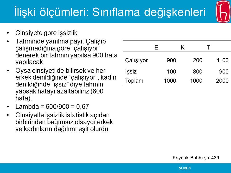 SLIDE 10 İlişki ölçümleri: Sıralama değişkenleri Gamma iki sayıdan oluşur: –İki değişken için aynı sırayı alan çiftler –İki değişken için zıt sırayı alan çiftler –Aynı sırayı alanlar her gözdeki sayının sağındaki ve altındaki gözlerdeki sayıların toplamıyla çarpılıyor ve birbirleriyle toplanıyor (200*(900+300+400+100)+500*(300+100)+400*(400+100)+900*(100)=340.00+2 00.000+200.000 = 830.000) –Zıt sırayı alanlar her gözdeki sayının solundaki ve altındaki gözdeki sayıların toplamıyla çarpılıyor ve birbirleriyle toplanıyor (700*(500+800+900+300)+400*(800+300)+400*(800+500)+900*(800)= 1.750.000+440.000+520.000+720.000 = 3.430.000) –Gamma = (aynı – zıt) / (aynı + zıt) = -0,61 –Yani sosyal sınıfla önyargı arasında negatif bir ilişki var: Sosyal sınıf düzeyi yükseldikçe önyargı azalıyor.
