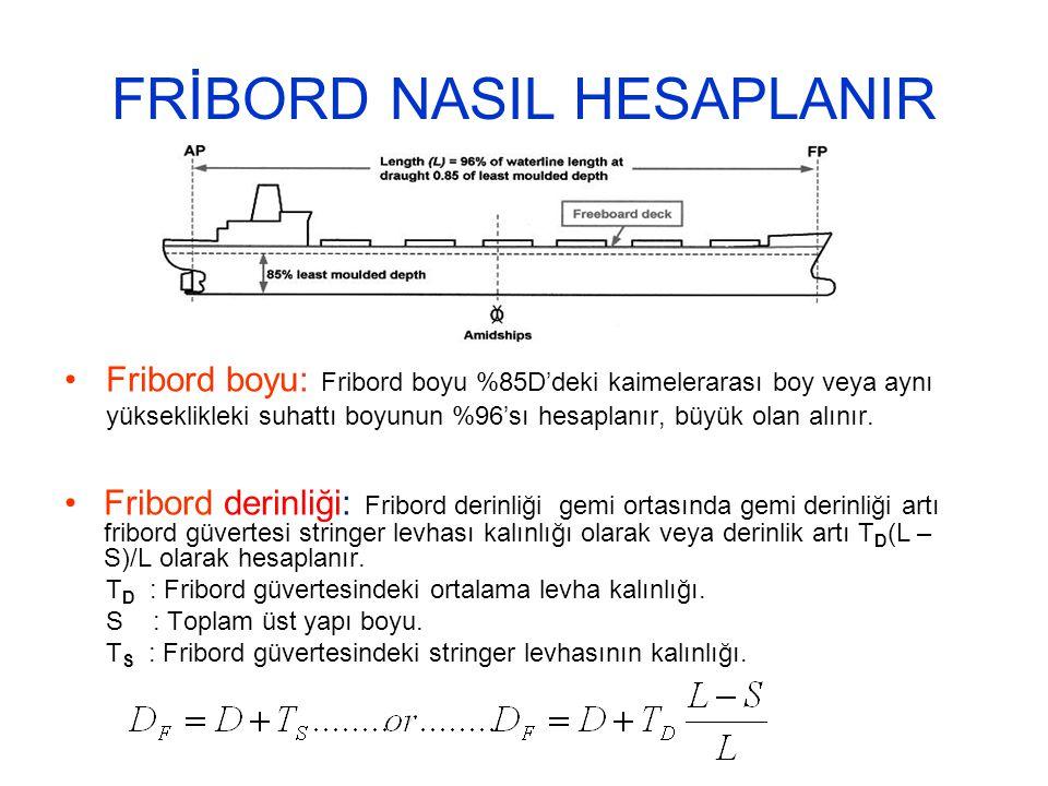 FRİBORD NASIL HESAPLANIR Fribord boyu: Fribord boyu %85D'deki kaimelerarası boy veya aynı yükseklikleki suhattı boyunun %96'sı hesaplanır, büyük olan