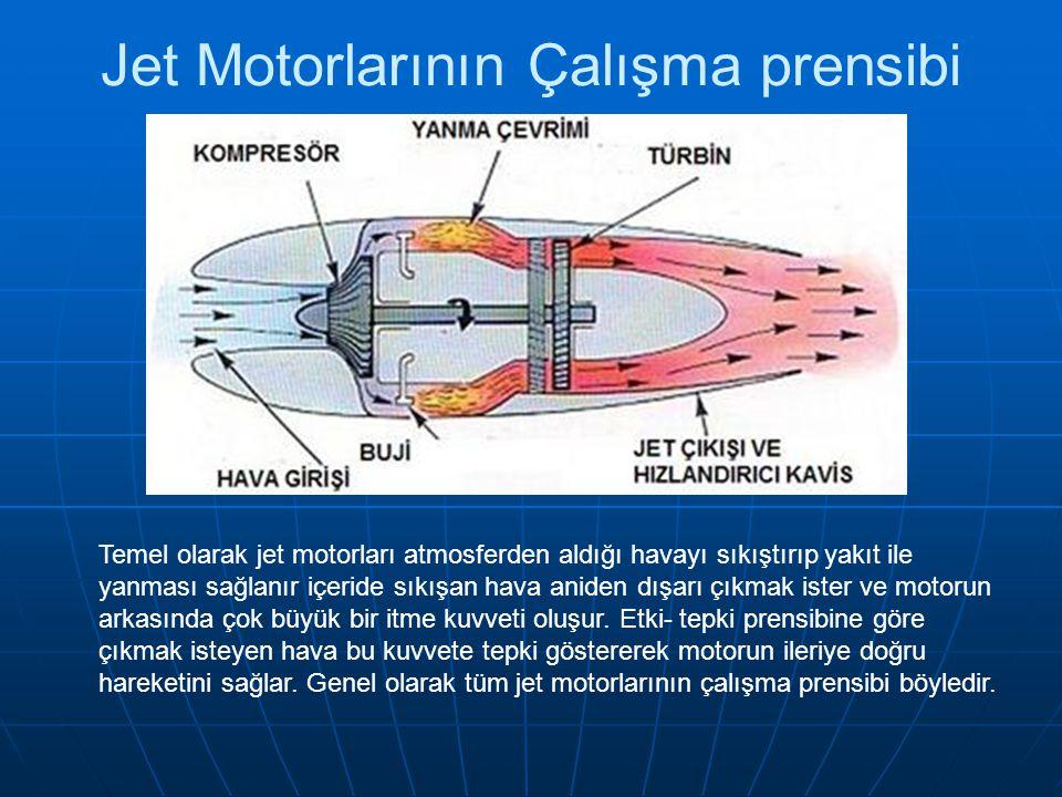 Jet Motorlarının Çalışma prensibi Temel olarak jet motorları atmosferden aldığı havayı sıkıştırıp yakıt ile yanması sağlanır içeride sıkışan hava anid