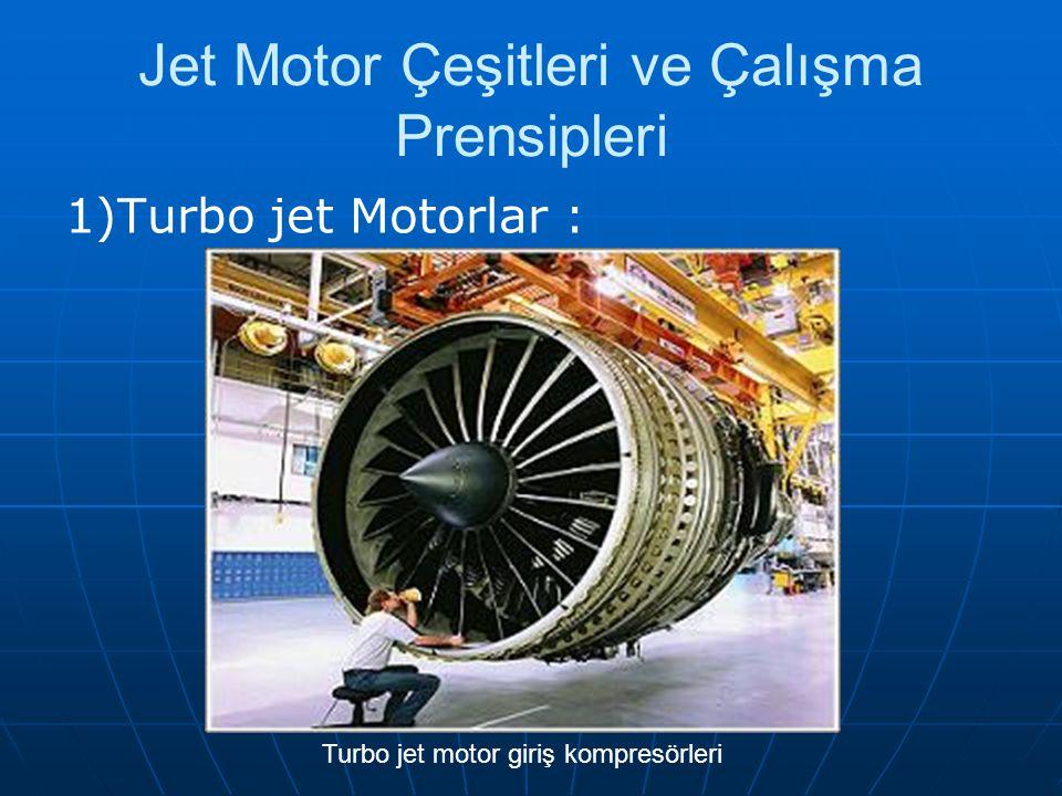 Jet Motor Çeşitleri ve Çalışma Prensipleri 1)Turbo jet Motorlar : Turbo jet motor giriş kompresörleri