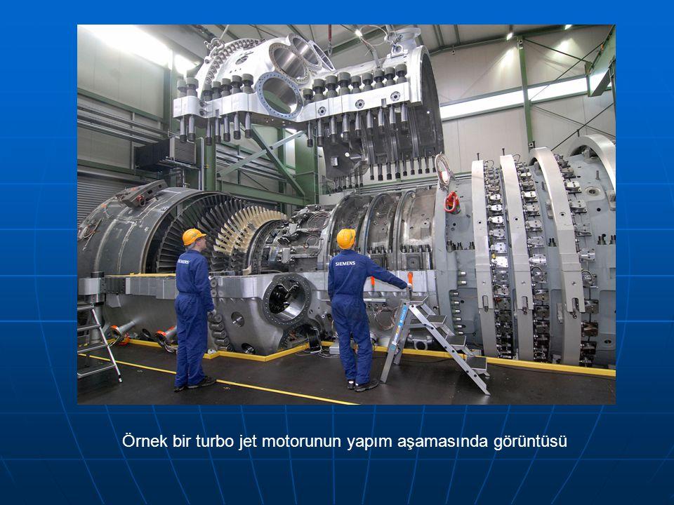 Örnek bir turbo jet motorunun yapım aşamasında görüntüsü