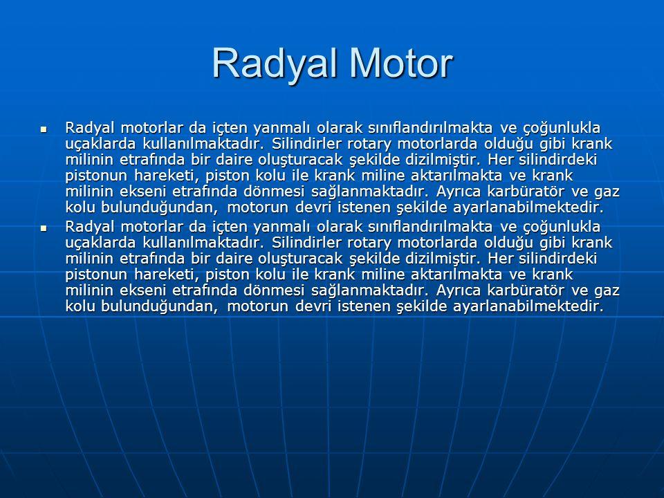 Radyal Motor Radyal motorlar da içten yanmalı olarak sınıflandırılmakta ve çoğunlukla uçaklarda kullanılmaktadır. Silindirler rotary motorlarda olduğu