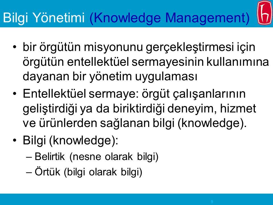 9 Bilgi Yönetimi (Knowledge Management) bir örgütün misyonunu gerçekleştirmesi için örgütün entellektüel sermayesinin kullanımına dayanan bir yönetim uygulaması Entellektüel sermaye: örgüt çalışanlarının geliştirdiği ya da biriktirdiği deneyim, hizmet ve ürünlerden sağlanan bilgi (knowledge).
