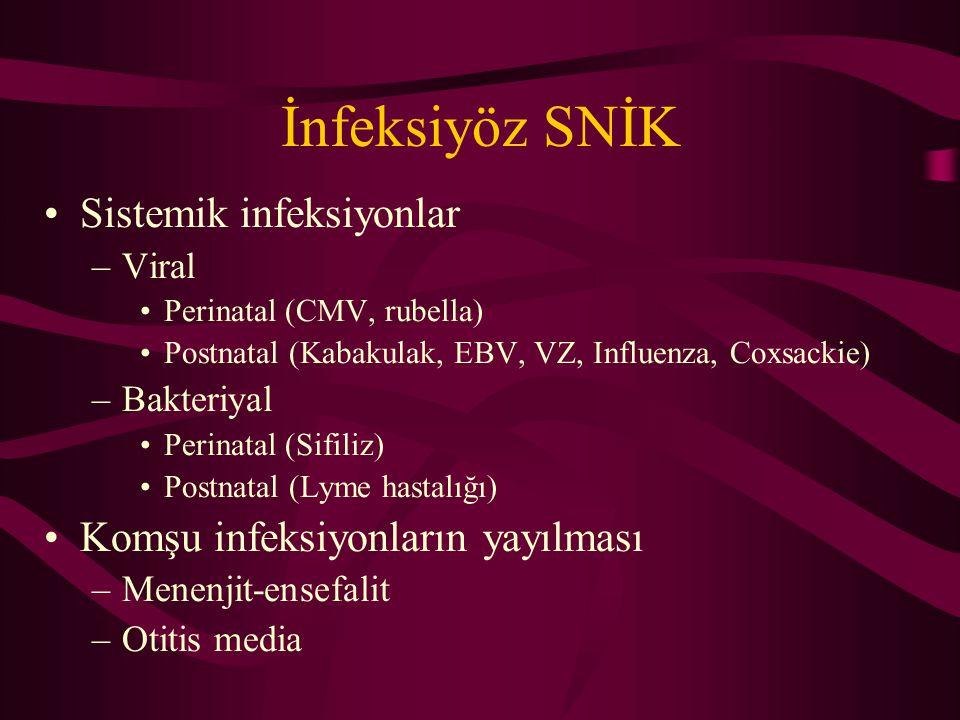 İnfeksiyöz SNİK Sistemik infeksiyonlar –Viral Perinatal (CMV, rubella) Postnatal (Kabakulak, EBV, VZ, Influenza, Coxsackie) –Bakteriyal Perinatal (Sifiliz) Postnatal (Lyme hastalığı) Komşu infeksiyonların yayılması –Menenjit-ensefalit –Otitis media