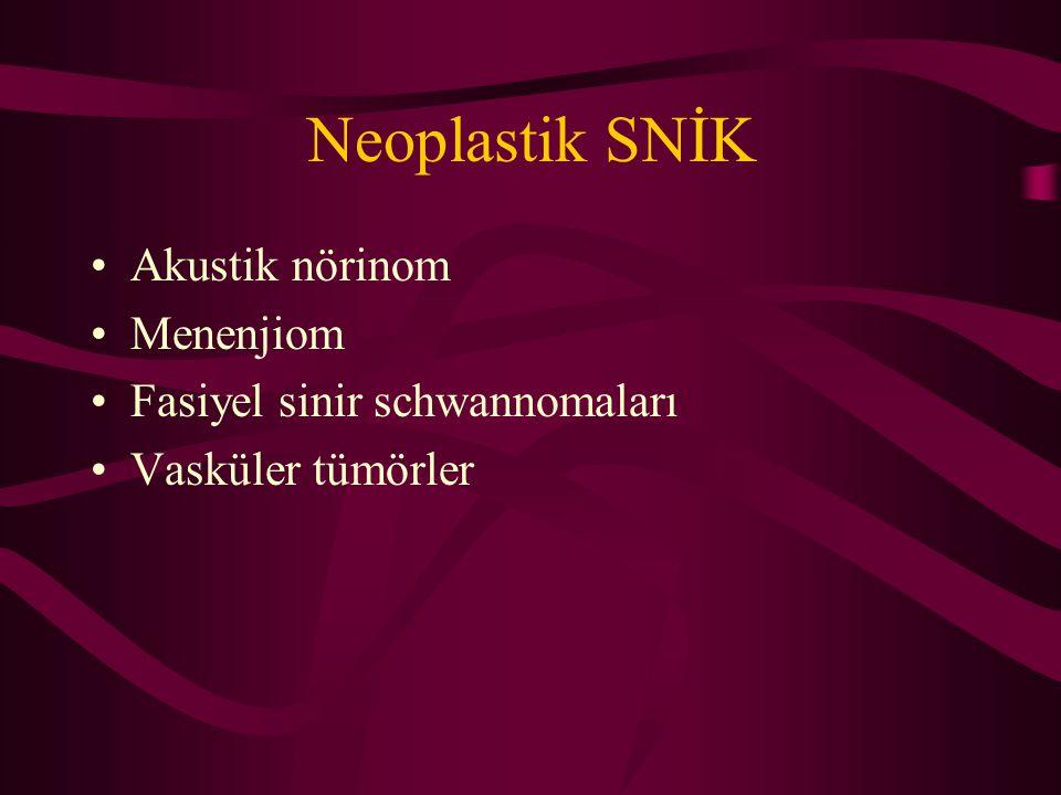 Neoplastik SNİK Akustik nörinom Menenjiom Fasiyel sinir schwannomaları Vasküler tümörler