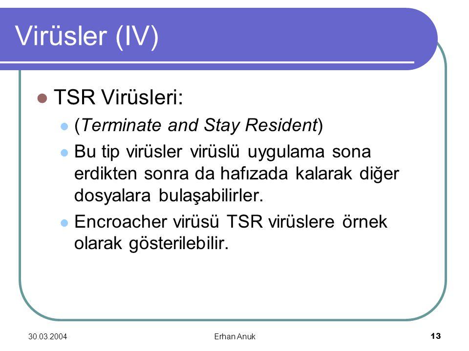 30.03.2004Erhan Anuk13 Virüsler (IV) TSR Virüsleri: (Terminate and Stay Resident) Bu tip virüsler virüslü uygulama sona erdikten sonra da hafızada kal