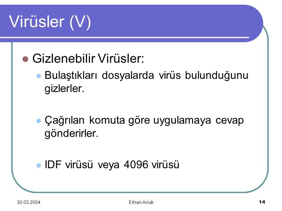30.03.2004Erhan Anuk14 Virüsler (V) Gizlenebilir Virüsler: Bulaştıkları dosyalarda virüs bulunduğunu gizlerler. Çağrılan komuta göre uygulamaya cevap