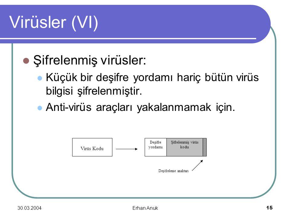 30.03.2004Erhan Anuk15 Virüsler (VI) Şifrelenmiş virüsler: Küçük bir deşifre yordamı hariç bütün virüs bilgisi şifrelenmiştir. Anti-virüs araçları yak
