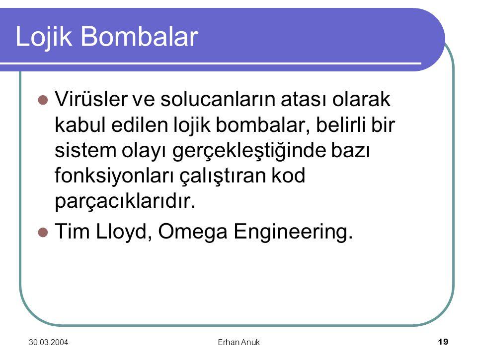 30.03.2004Erhan Anuk19 Lojik Bombalar Virüsler ve solucanların atası olarak kabul edilen lojik bombalar, belirli bir sistem olayı gerçekleştiğinde baz