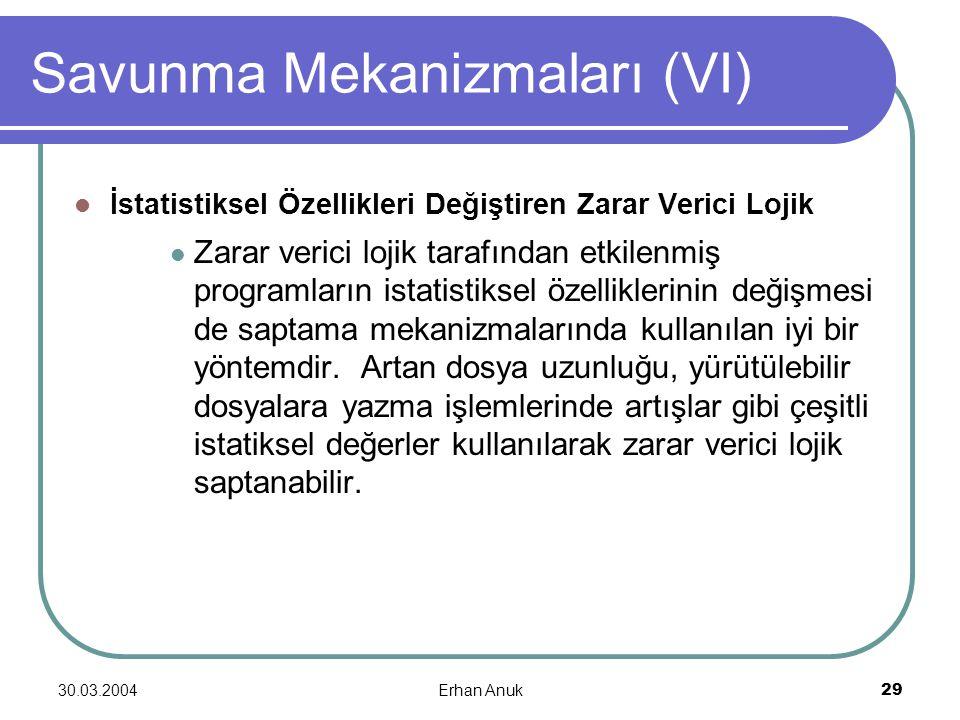 30.03.2004Erhan Anuk29 Savunma Mekanizmaları (VI) İstatistiksel Özellikleri Değiştiren Zarar Verici Lojik Zarar verici lojik tarafından etkilenmiş pro