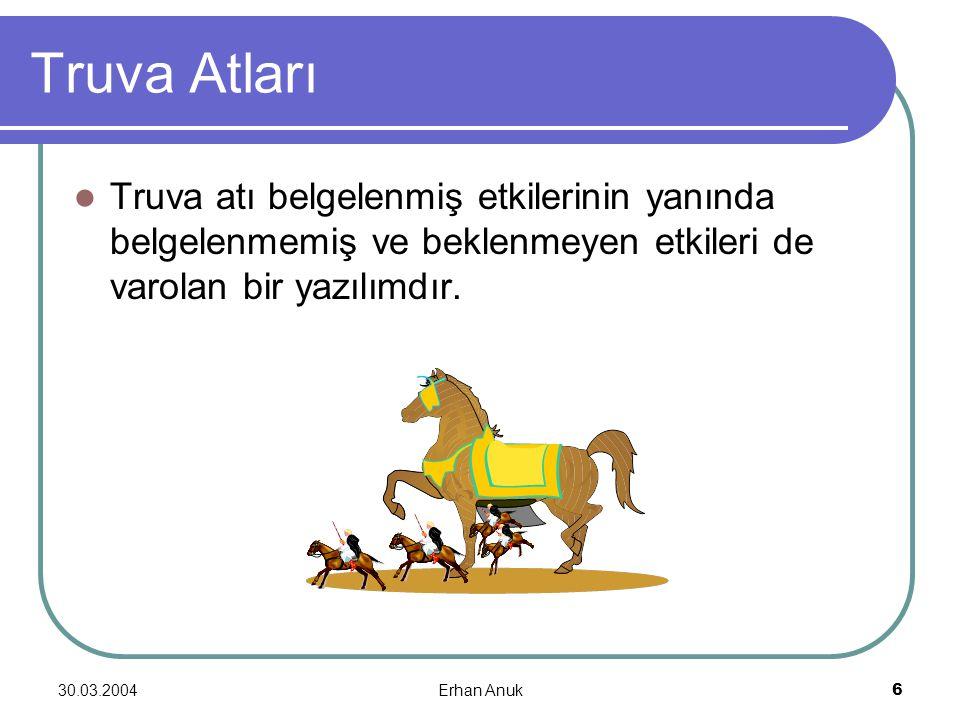 30.03.2004Erhan Anuk6 Truva Atları Truva atı belgelenmiş etkilerinin yanında belgelenmemiş ve beklenmeyen etkileri de varolan bir yazılımdır.