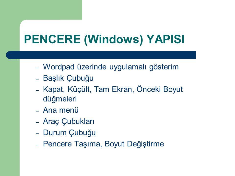 PENCERE (Windows) YAPISI – Wordpad üzerinde uygulamalı gösterim – Başlık Çubuğu – Kapat, Küçült, Tam Ekran, Önceki Boyut düğmeleri – Ana menü – Araç Çubukları – Durum Çubuğu – Pencere Taşıma, Boyut Değiştirme