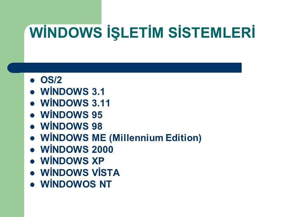 BAŞLAT MENÜSÜ – 2.) BELGELER (Son açılan dosya adlarını gösterir, tıklayarak tekrar açabiliriz) – 3.) AYARLAR (Denetim masası ile Windows ayarları yapılır) – 4.) ARA (Dosya ya da klasörleri arayıp bulmayı sağlar, * joker karakteri aramada kolaylık sağlar, örneğin Uyg*.Doc = Uyg ile başlayan ve uzantısı doc olan tüm dosyaları arar ) – 5.) YARDIM – 6.) ÇALIŞTIR… (Örn : Notepad.Exe) – 7.) BİLGİSAYARI KAPAT