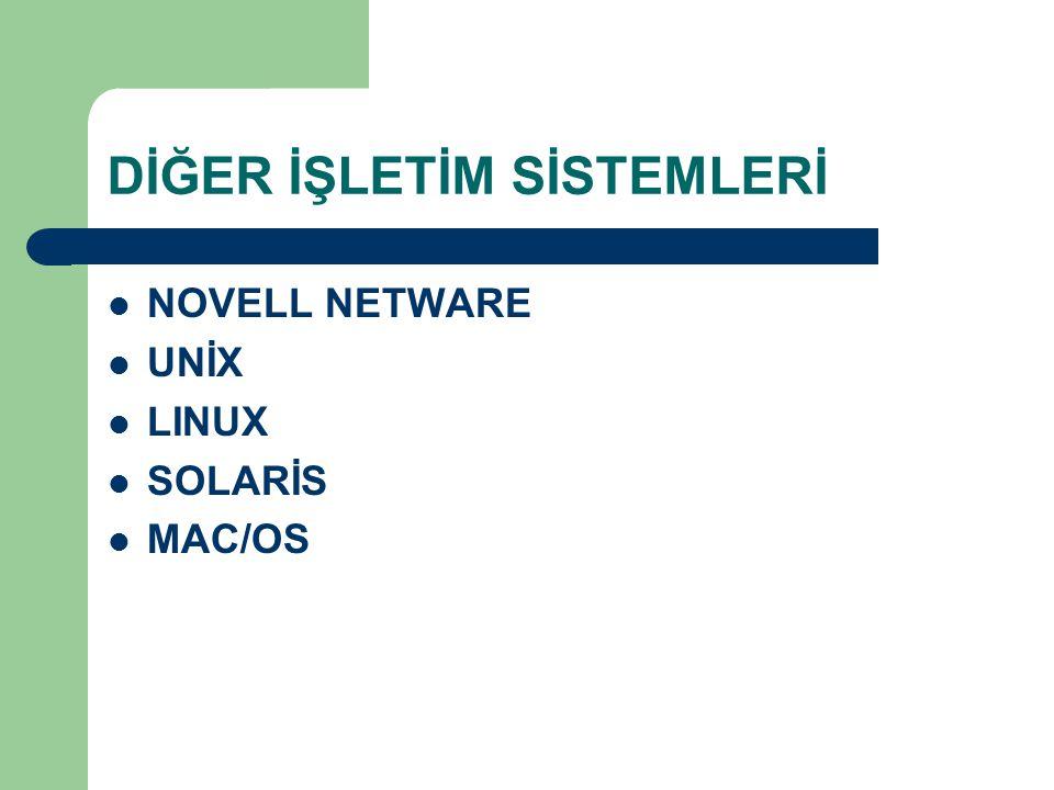 DİĞER İŞLETİM SİSTEMLERİ NOVELL NETWARE UNİX LINUX SOLARİS MAC/OS