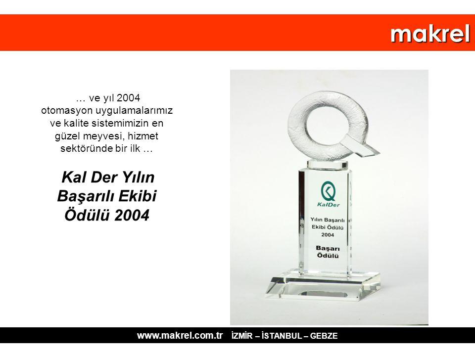 … ve yıl 2004 otomasyon uygulamalarımız ve kalite sistemimizin en güzel meyvesi, hizmet sektöründe bir ilk … Kal Der Yılın Başarılı Ekibi Ödülü 2004 w