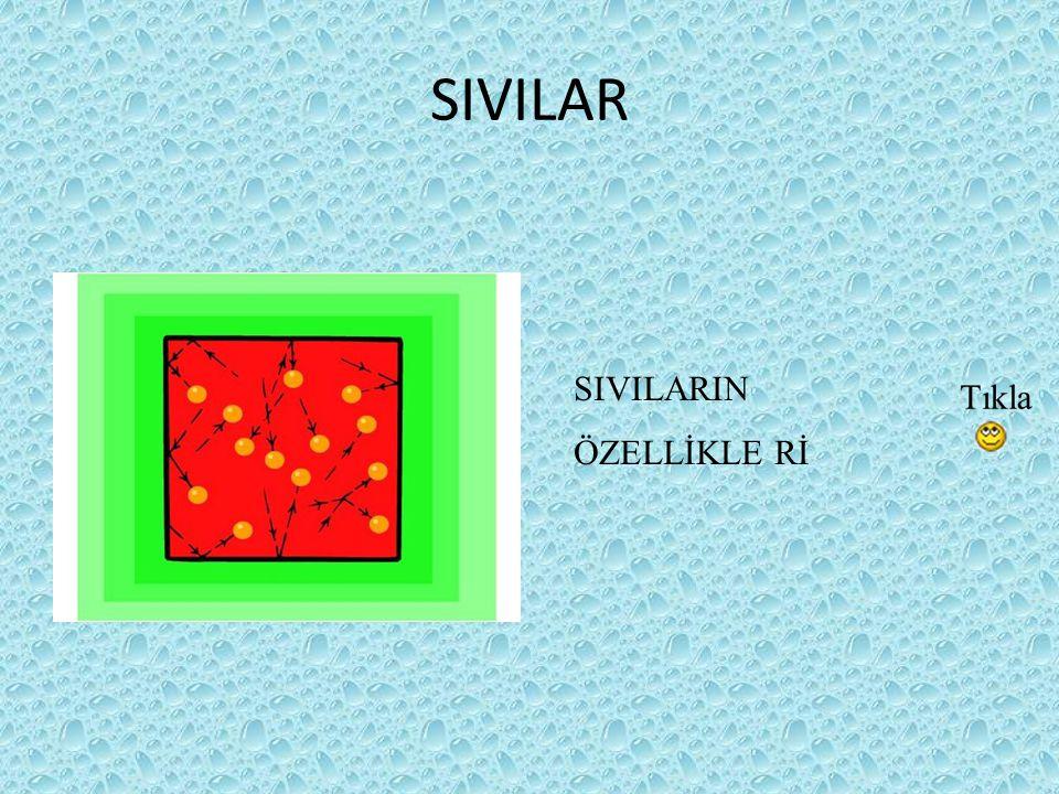 SIVILARIN ÖZELLİKLERİ Sıvı maddelerin belirli bir şekilleri yoktur.Bulundukları kabın şeklini alırlar.