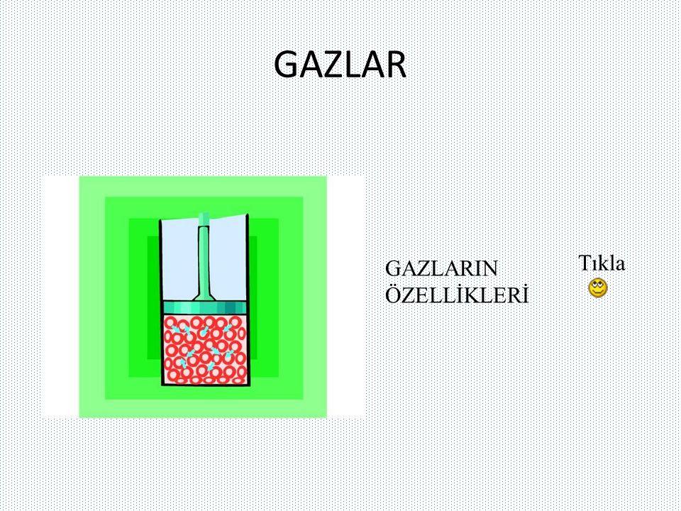 GAZLARIN ÖZELLİKLERİ Belirli bir şekilleri ve hacimleri yoktur.