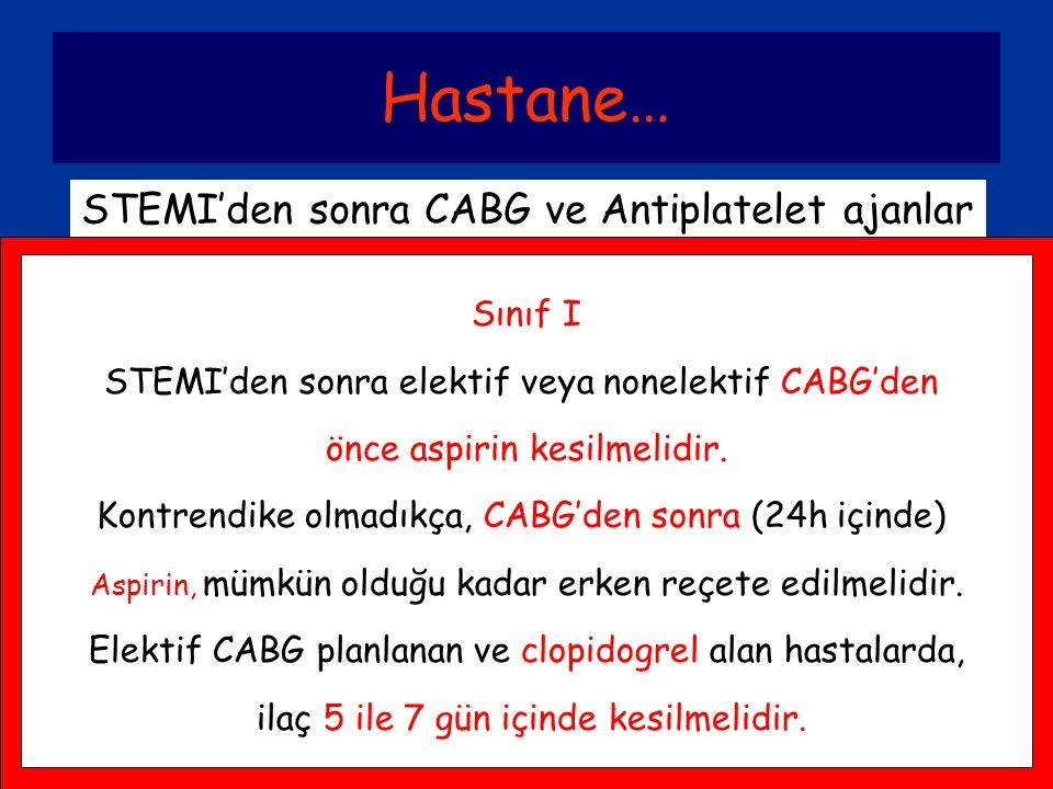 Hastane… STEMI'den sonra CABG ve Antiplatelet ajanlar Sınıf I STEMI'den sonra elektif veya nonelektif CABG'den önce aspirin kesilmelidir. Kontrendike