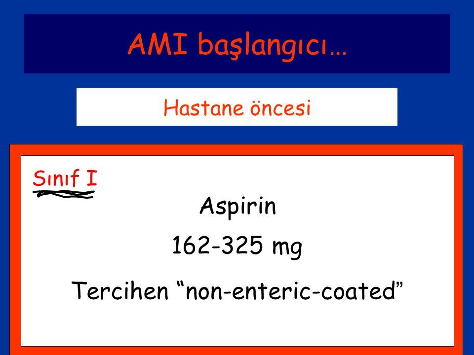 """AMI başlangıcı… Hastane öncesi Aspirin 162-325 mg Tercihen """"non-enteric-coated """" Sınıf I"""