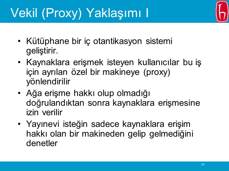 - 20 Vekil (Proxy) Yaklaşımı I Kütüphane bir iç otantikasyon sistemi geliştirir.