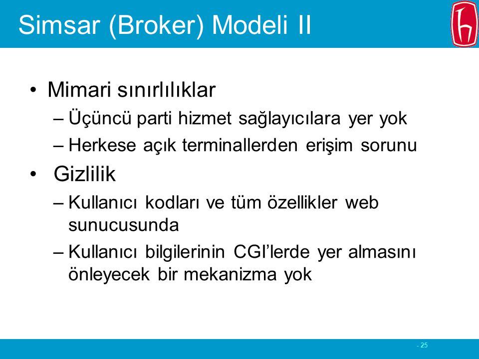 - 25 Simsar (Broker) Modeli II Mimari sınırlılıklar –Üçüncü parti hizmet sağlayıcılara yer yok –Herkese açık terminallerden erişim sorunu Gizlilik –Kullanıcı kodları ve tüm özellikler web sunucusunda –Kullanıcı bilgilerinin CGI'lerde yer almasını önleyecek bir mekanizma yok