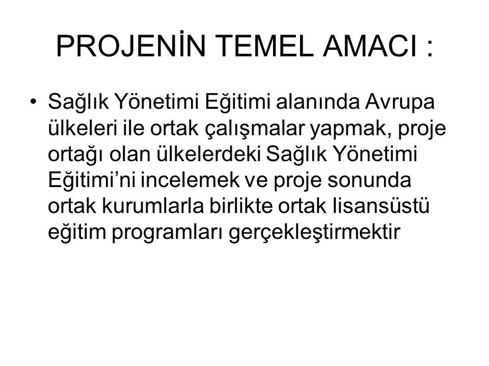 PROJE KAPSAMINDA, PROJE ORTAĞI ÜLKELER : Proje ortağı ülkeler Türkiye, İngiltere ve Almanya'dır.