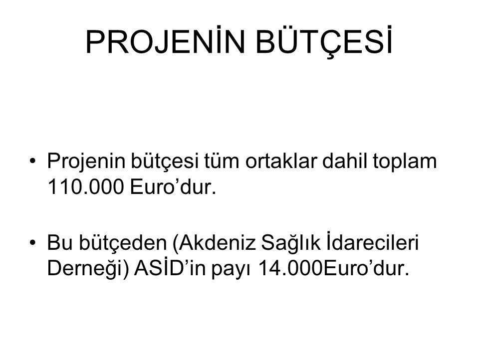 PROJENİN BÜTÇESİ Projenin bütçesi tüm ortaklar dahil toplam 110.000 Euro'dur.