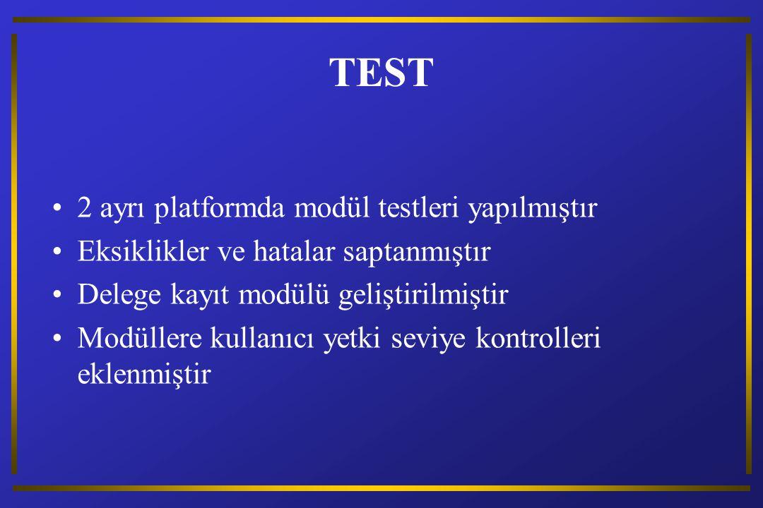 TEST 2 ayrı platformda modül testleri yapılmıştır Eksiklikler ve hatalar saptanmıştır Delege kayıt modülü geliştirilmiştir Modüllere kullanıcı yetki seviye kontrolleri eklenmiştir