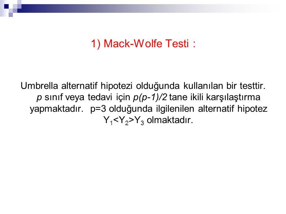 1) Mack-Wolfe Testi : Umbrella alternatif hipotezi olduğunda kullanılan bir testtir.