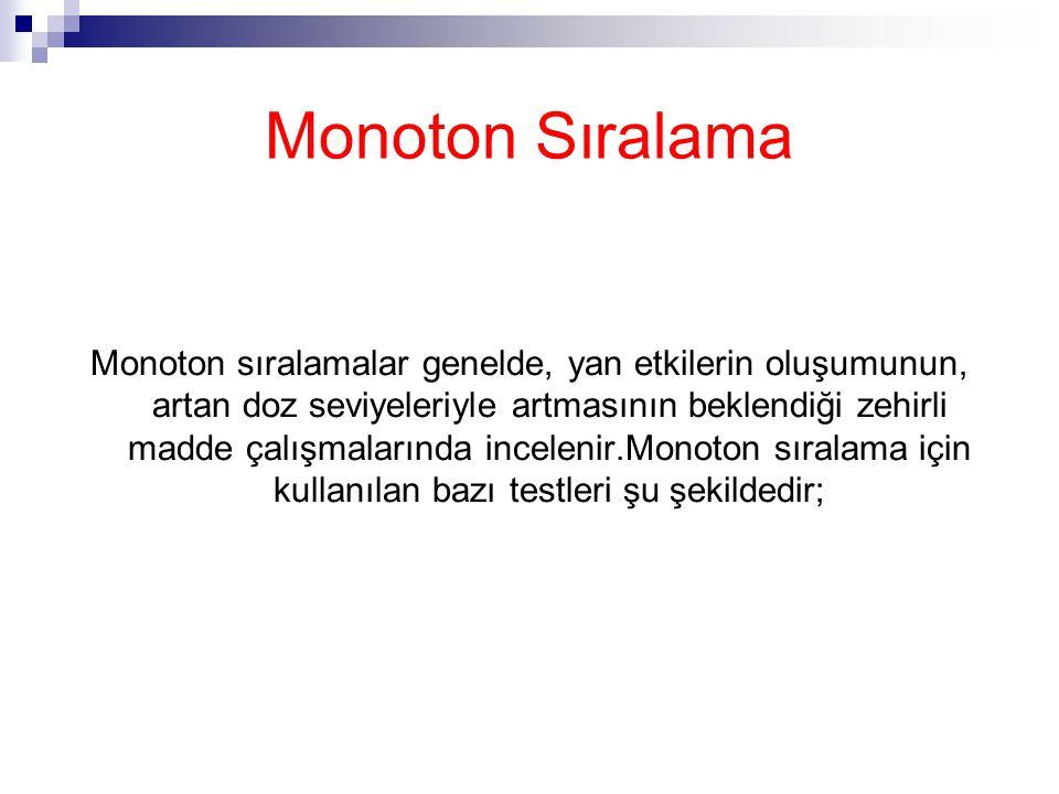 Monoton Sıralama Monoton sıralamalar genelde, yan etkilerin oluşumunun, artan doz seviyeleriyle artmasının beklendiği zehirli madde çalışmalarında incelenir.Monoton sıralama için kullanılan bazı testleri şu şekildedir;