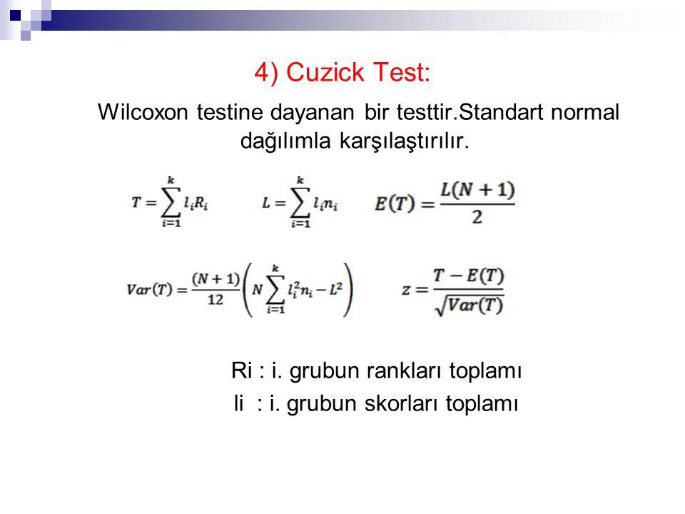 4) Cuzick Test: Wilcoxon testine dayanan bir testtir.Standart normal dağılımla karşılaştırılır.