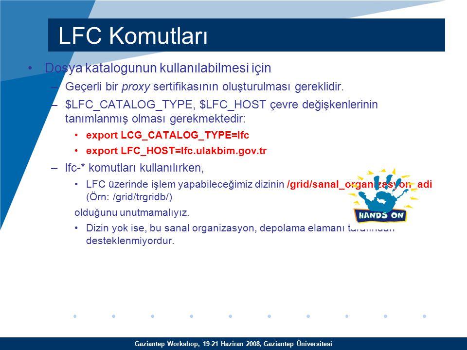 Gaziantep Workshop, 19-21 Haziran 2008, Gaziantep Üniversitesi Dosya katalogunun kullanılabilmesi için –Geçerli bir proxy sertifikasının oluşturulması gereklidir.