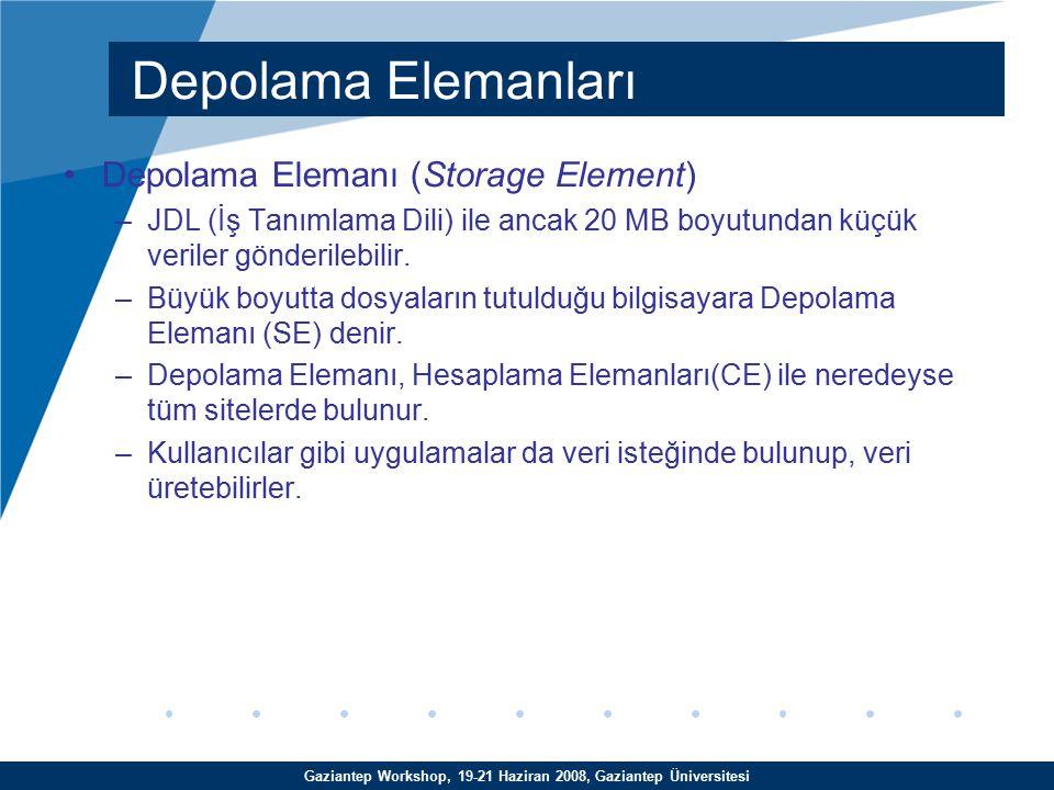 Gaziantep Workshop, 19-21 Haziran 2008, Gaziantep Üniversitesi Depolama Elemanı (Storage Element) –JDL (İş Tanımlama Dili) ile ancak 20 MB boyutundan küçük veriler gönderilebilir.