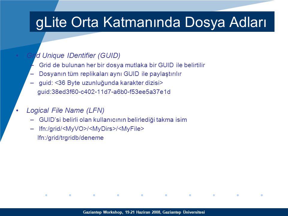 Gaziantep Workshop, 19-21 Haziran 2008, Gaziantep Üniversitesi Storage URL(SURL) ya da Physical File Name(PFN) –Dosyanın depolama elemanındaki gerçek alanına verilen isim (Dosyanın Grid de fiziksel yerini tanımlar) –Replika Yönetim Sistemi (RMS) tarafından dosyanın nerede tutulduğunu öğrenmek amacıyla kullanılır.