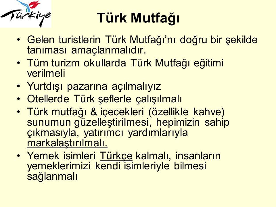 Türk Mutfağı Gelen turistlerin Türk Mutfağı'nı doğru bir şekilde tanıması amaçlanmalıdır. Tüm turizm okullarda Türk Mutfağı eğitimi verilmeli Yurtdışı