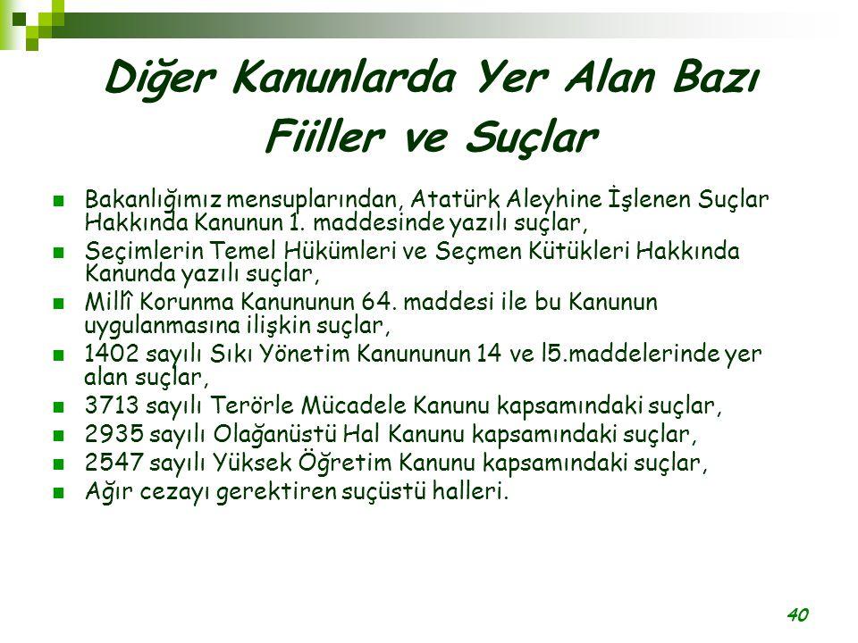 40 Diğer Kanunlarda Yer Alan Bazı Fiiller ve Suçlar Bakanlığımız mensuplarından, Atatürk Aleyhine İşlenen Suçlar Hakkında Kanunun 1. maddesinde yazılı