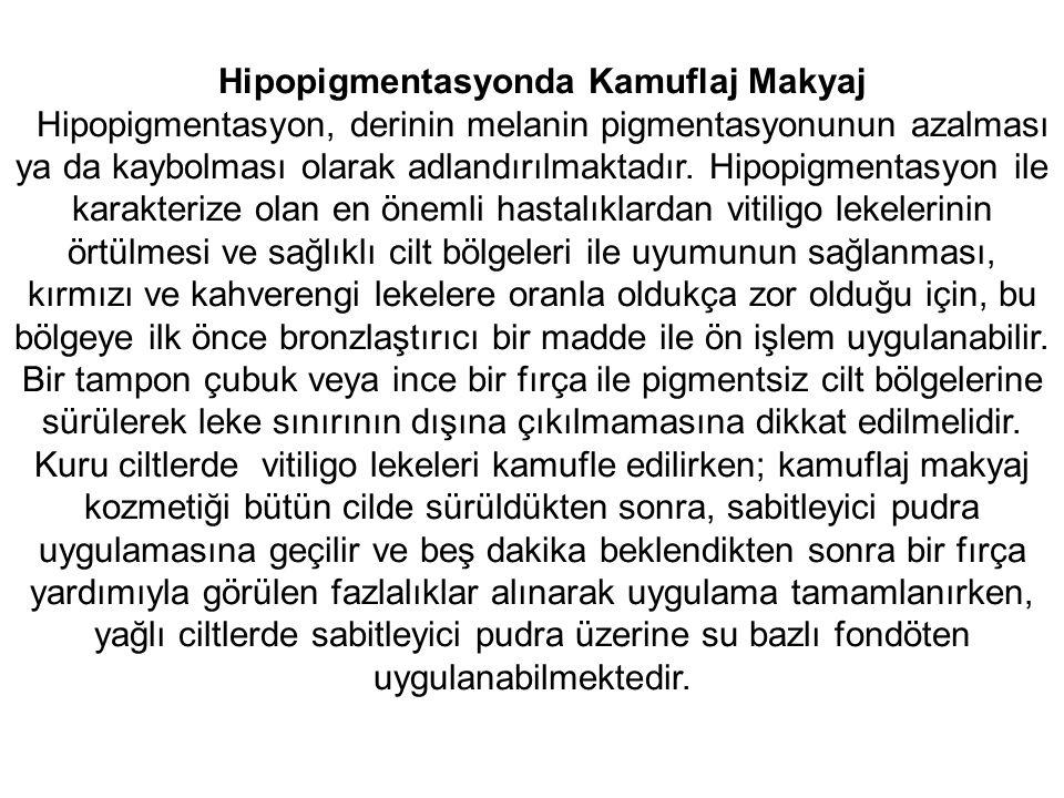 Hipopigmentasyonda Kamuflaj Makyaj Hipopigmentasyon, derinin melanin pigmentasyonunun azalması ya da kaybolması olarak adlandırılmaktadır.