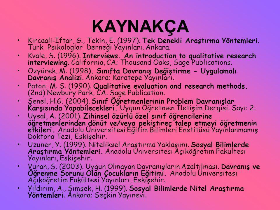 KAYNAKÇA Kırcaali-İftar, G., Tekin, E. (1997). Tek Denekli Araştırma Yöntemleri. Türk Psikologlar Derneği Yayınları. Ankara. Kvale, S. (1996). Intervi