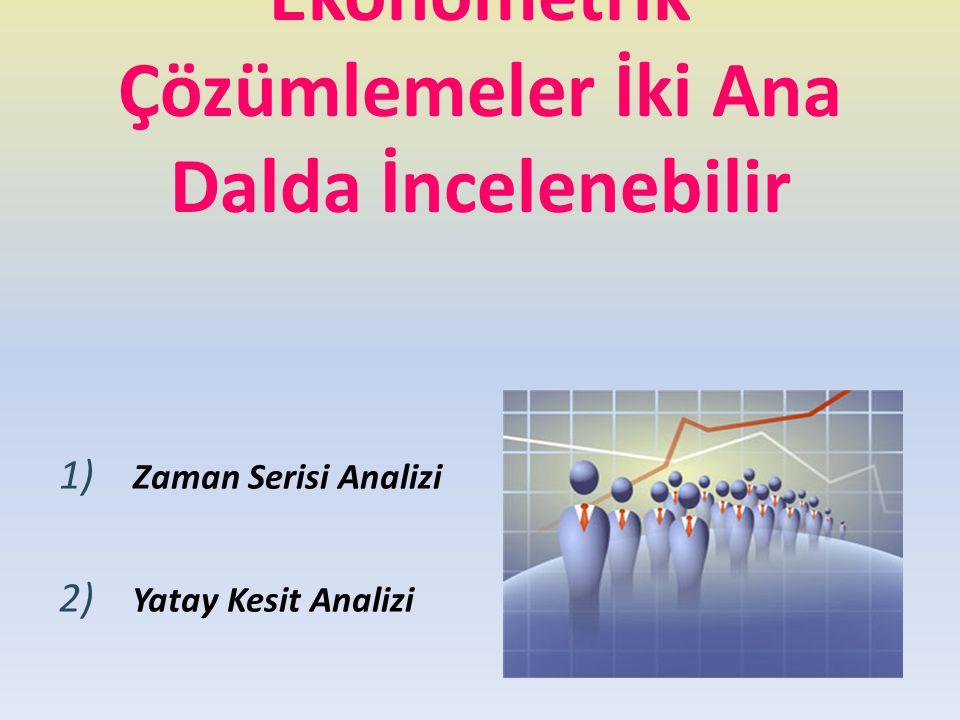 Ekonometrik Çözümlemeler İki Ana Dalda İncelenebilir 1) Zaman Serisi Analizi 2) Yatay Kesit Analizi