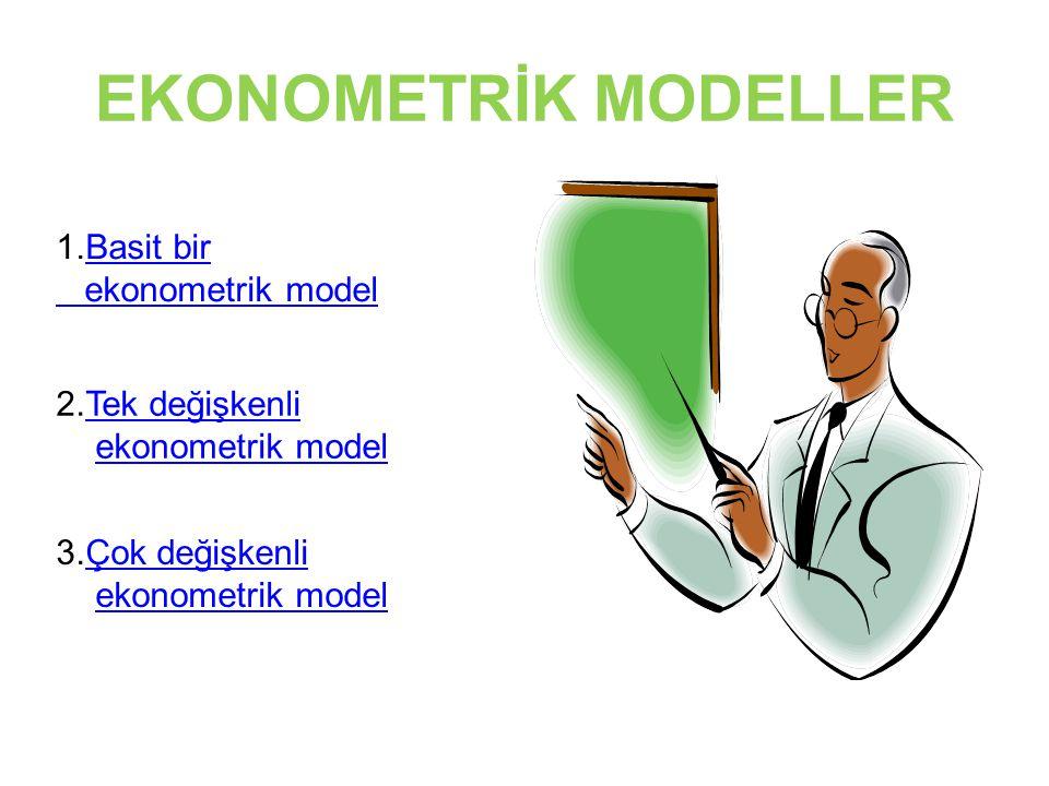 EKONOMETRİK MODELLER 1.Basit birBasit bir ekonometrik model 2.Tek değişkenli ekonometrik modelTek değişkenli ekonometrik model 3.Çok değişkenli ekonom
