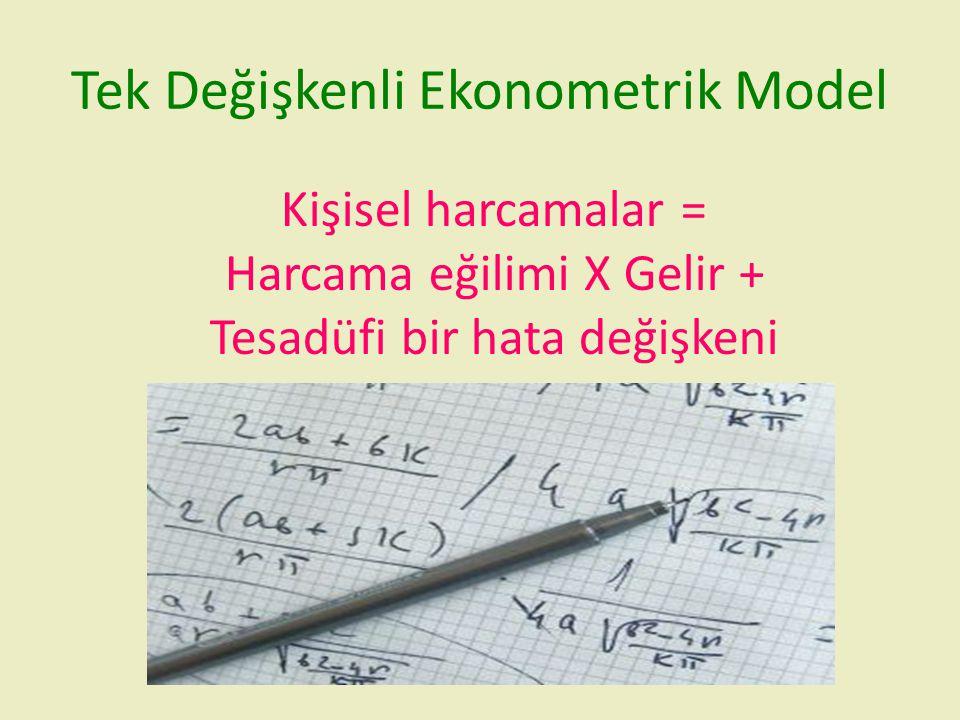 Tek Değişkenli Ekonometrik Model Kişisel harcamalar = Harcama eğilimi X Gelir + Tesadüfi bir hata değişkeni