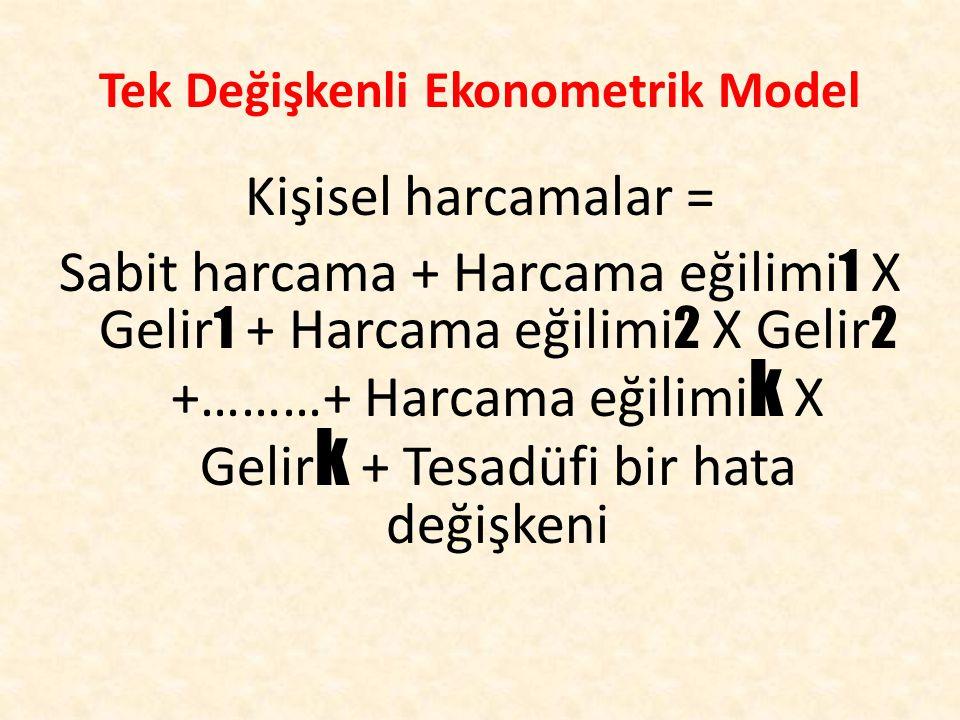 Tek Değişkenli Ekonometrik Model Kişisel harcamalar = Sabit harcama + Harcama eğilimi 1 X Gelir 1 + Harcama eğilimi 2 X Gelir 2 +………+ Harcama eğilimi