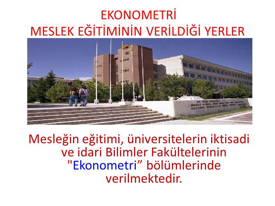 EKONOMETRİ MESLEK EĞİTİMİNİN VERİLDİĞİ YERLER Mesleğin eğitimi, üniversitelerin iktisadi ve idari Bilimler Fakültelerinin