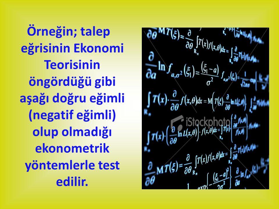 Örneğin; talep eğrisinin Ekonomi Teorisinin öngördüğü gibi aşağı doğru eğimli (negatif eğimli) olup olmadığı ekonometrik yöntemlerle test edilir.